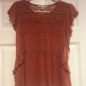American Eagle Lace & Ruffle Copper Shirt